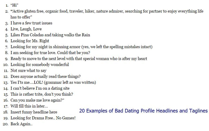 Profile headings for dating sites