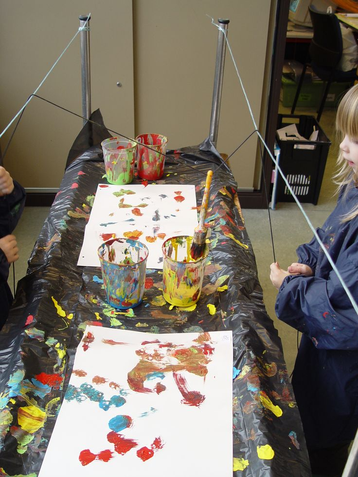 Schilderen met een katrolsysteem. De leerlingen moeten voor deze manier van schilderen samenwerken om de verfborstel te laten bewegen. Ze zullen wel snel genoeg merken dat als ze niet samenwerken, er niet veel leuks op het blad zal verschijnen. Als ze samenwerken kunnen er leuke schilderen ontstaan.