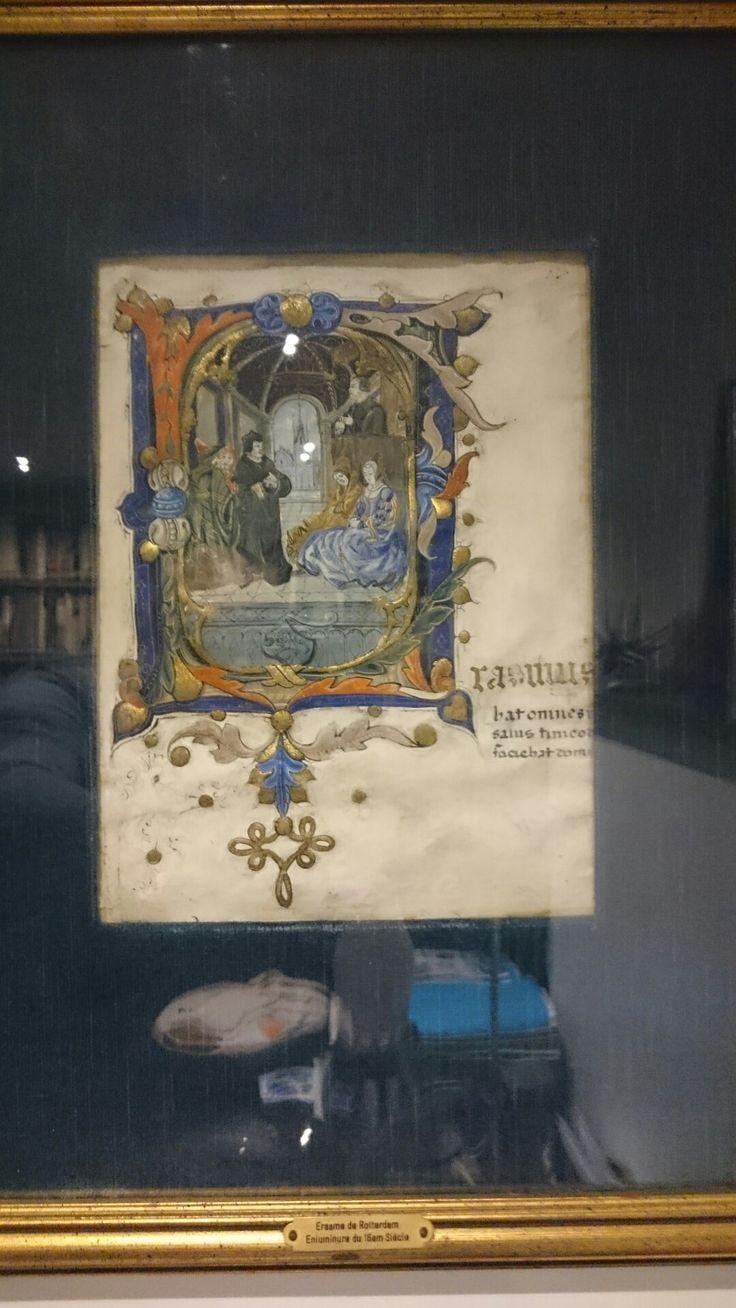 Erasme de Rotterdam. Enluminure sur velin du XVI ème siècle.