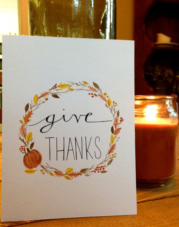 Give Thanks Thanksgiving Watercolor by BlueHousePaperie on Etsy, $25.00