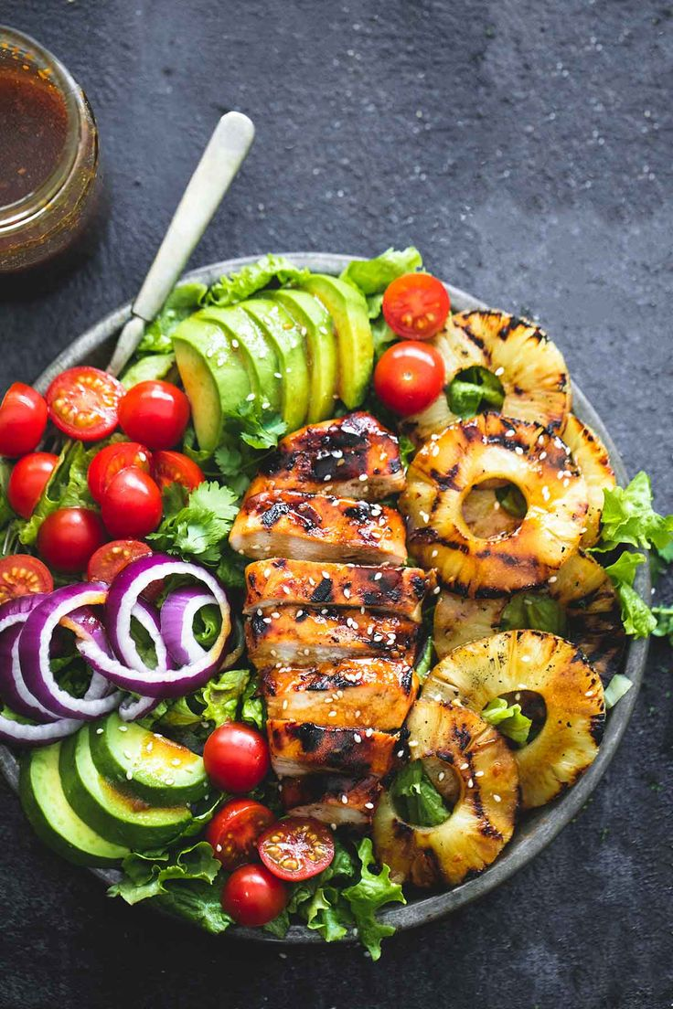 Grilled Teriyaki Chicken Salad | lecremedelacrumb.com | This is a delicious way to feature Wildtree teriyaki sauce in a versatile way. Use natural GSO and apple balsamic to round out the dressing recipe.
