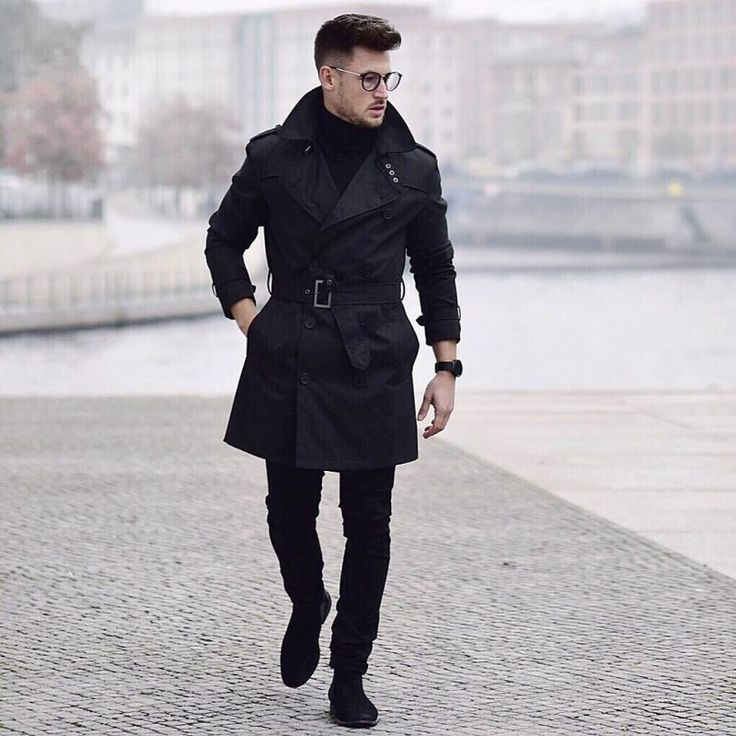 fb0806f53 6 Best Men Trench Coats This Winter. Black trench coat, turtleneck ...