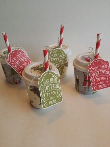 Stampin up Santa & Co coffee cups with merry everything stamp set. toniheylek.stampinup.net