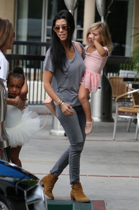 Kourtney Kardashian in her J BRAND Photo Ready Cropped Skinny in Chrome Mercy.