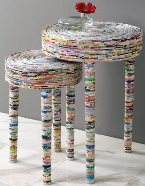 Mesas de revistas recicladas   -   Magazines tables recycled