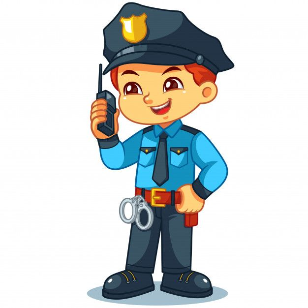Police Officer Boy Checking Information With Walky Talky Police Police Officer Police Officer Crafts