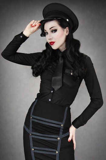 Black Military Shirt with Pointed Collar by Restyle