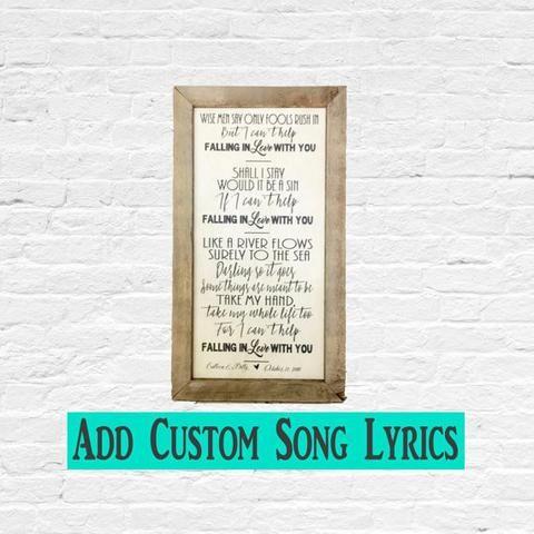 Wedding Song Lyric Wall Art On Wood Or Metal For Memorable Moment Weddingsong