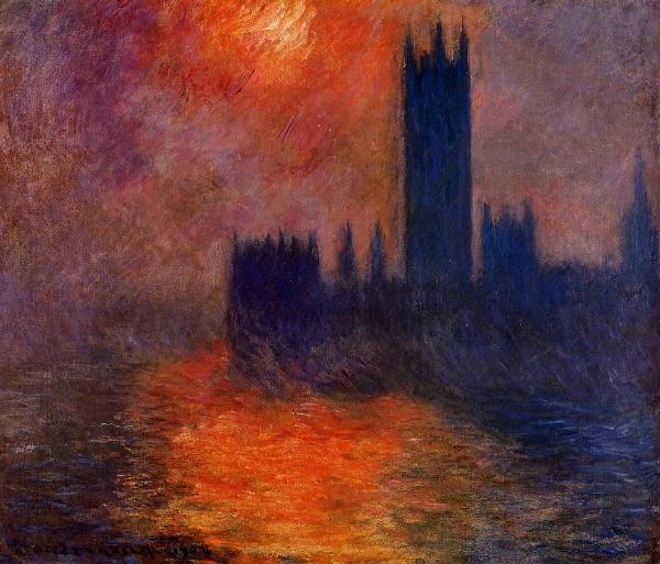 Клод Моне. Здание Парламента в Лондоне. Закат