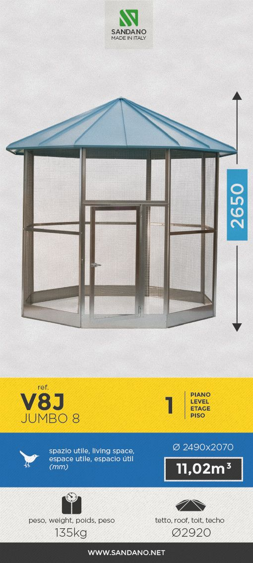 """#Voliera per uccelli • Bird's #aviary"""" • #Voliere pour les oiseaux • #Pajarera para aves ----- Jumbo 8 (V8J), MADE IN ITALY"""