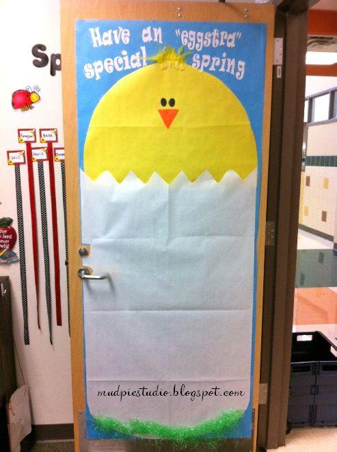 Spring Door Decor / bulletin board for classroom. #school #chick #Easter