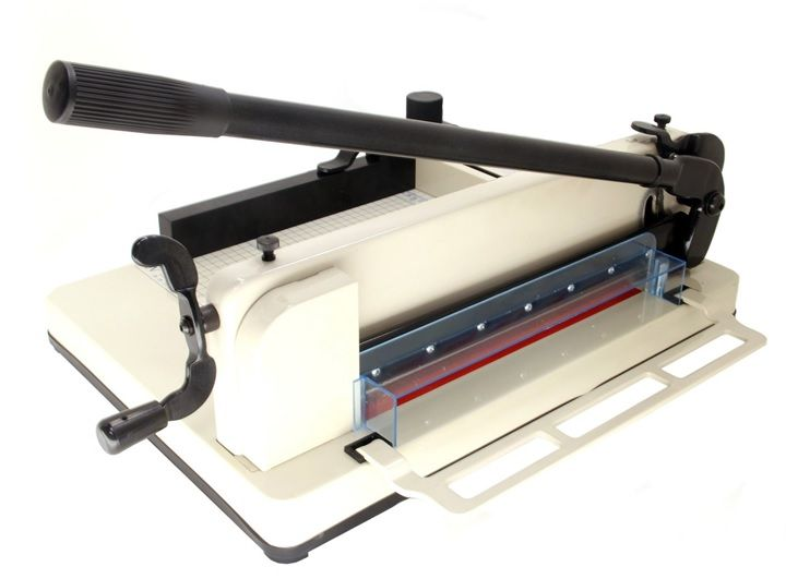The HFS New Heavy-Duty Guillotine Paper Cutter is one of the best heavy duty paper cutters and it is perfect for high volume cutting needs. It can cut through 400 sheets of paper at once. Even if it's a heavy duty guillotine paper trimmer, you can use it with an ease.