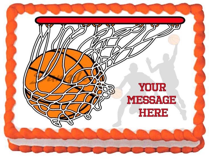 Edible basketball image cake topper 14 sheet 105 x 8
