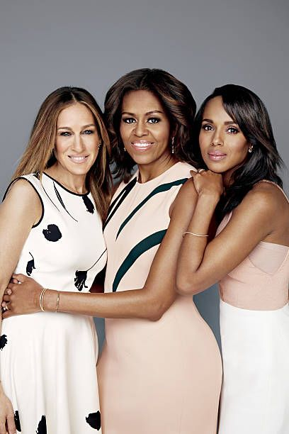 Actress Sarah Jessica Parker, first lady Michelle Obama and actress Kerry Washington are photographed for Glamour Magazine U.S. on February 11, 2015 in Washington, DC. Obama: Narciso Rodriguez dress. Parker: Oscar de la Renta dress and Phyne by Paige Novick earring. Washington: Narciso Rodriguez dress, Vita Fede earrings, Jennifer Meyer bracelet. PUBLISHED IMAGE.