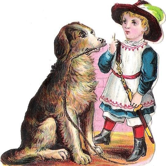 Oblaten Glanzbild scrap die cut chromo Kind chien child Hund dog enfant
