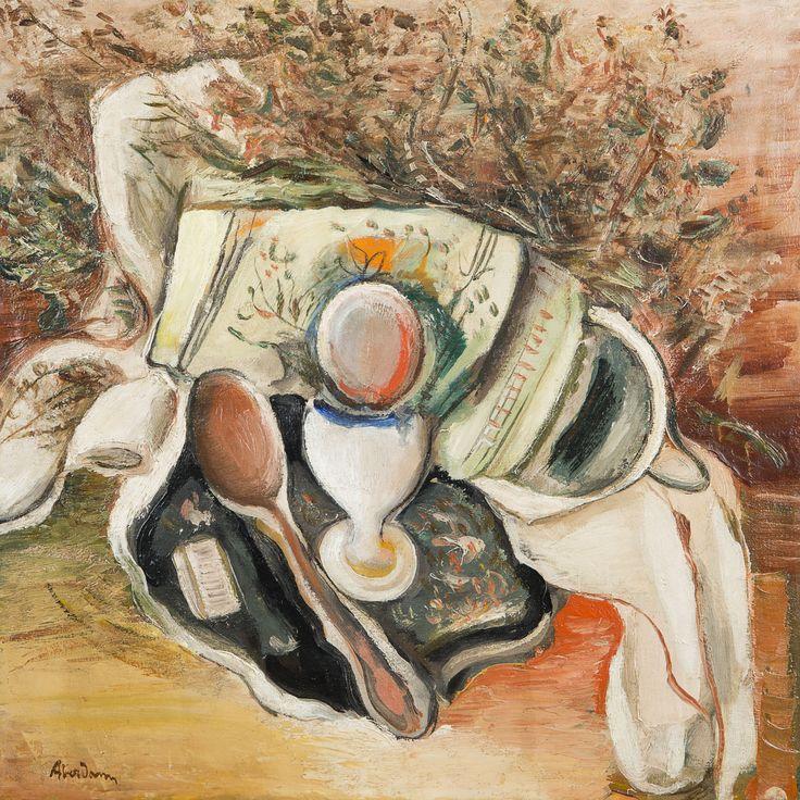 Alfred ABERDAM (Lvow 1894 - Paris 1963) Composition au coquetier  Huile sur toile marouflé sur carton 45,5 x 46 cm Signé en bas à gauche Aberdam Adjugé: 4200 €