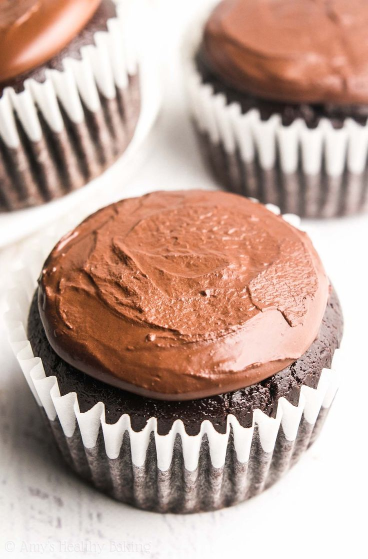 The Ultimate Healthy Chocolate Cupcakes -- just 135 calories, but these skinny cupcakes don't taste healthy at all! You'll never use another recipe again!