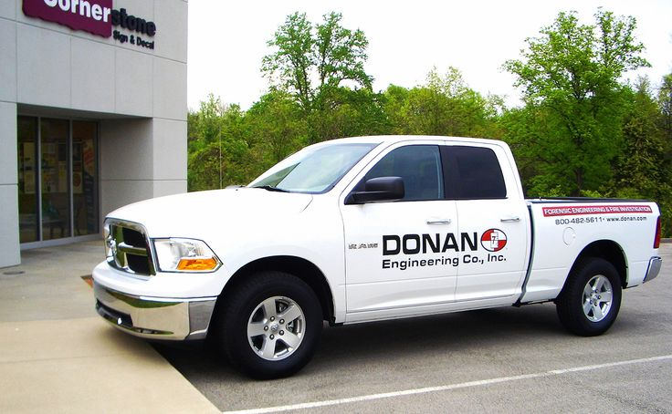 Custom vinyl decals for a business truck