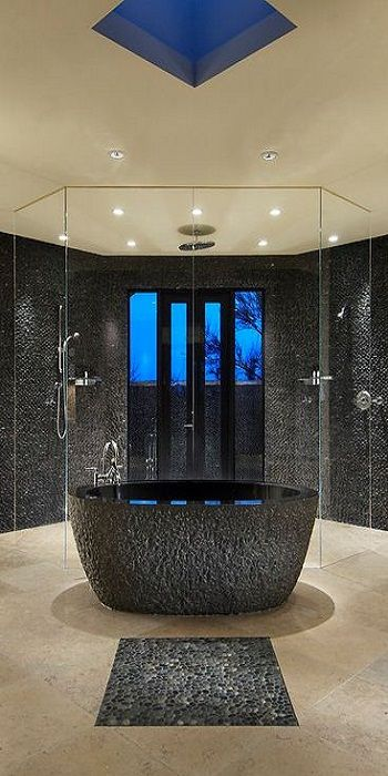 Bathroom Ideas, Modern Contemporary Bathroom, Shower, Jacuzzi, bathtub, Washbasins, Decor, Interior, Decorating, Makeover, Design
