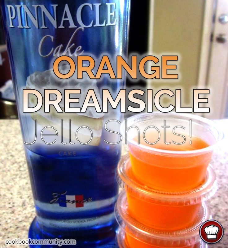 I've been having fun with Pinnacle Cake vodka lately. It's great mixed with different juices, and even with root beer for a twist on a float. Here, the sweet vanilla flavor complements zesty orange for a Dreamsicle-flavored jello shot.