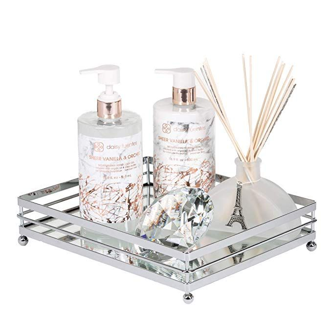 Amazon Com Vnesse Decorative Mirror Tray Mirror Perfume Glass Vanity Jewelry Serving Tray Silver Classic Glass Vanity Bathroom Tray Gold Bathroom Accessories