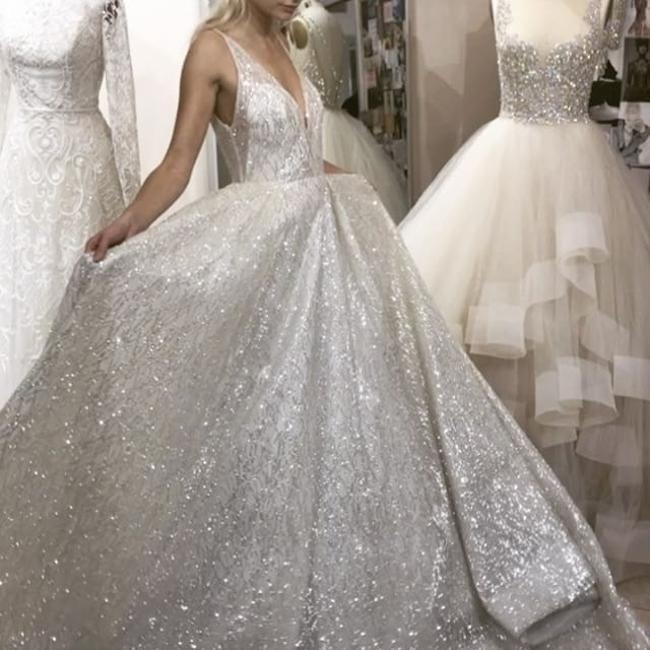 Lazaro Ivory Glitter 3662 Modern Wedding Dress Size 12 L Tradesy Sparkle Wedding Dress Glitter Wedding Dress Size 12 Wedding Dress