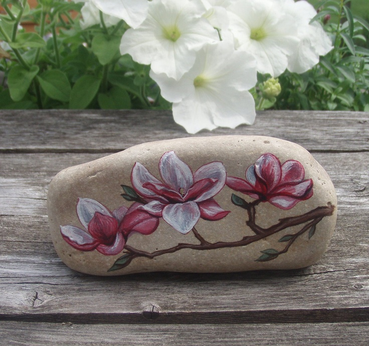 Pretty Magnolia Blossoms Painted Rock by Sandy-Land-Studiy.