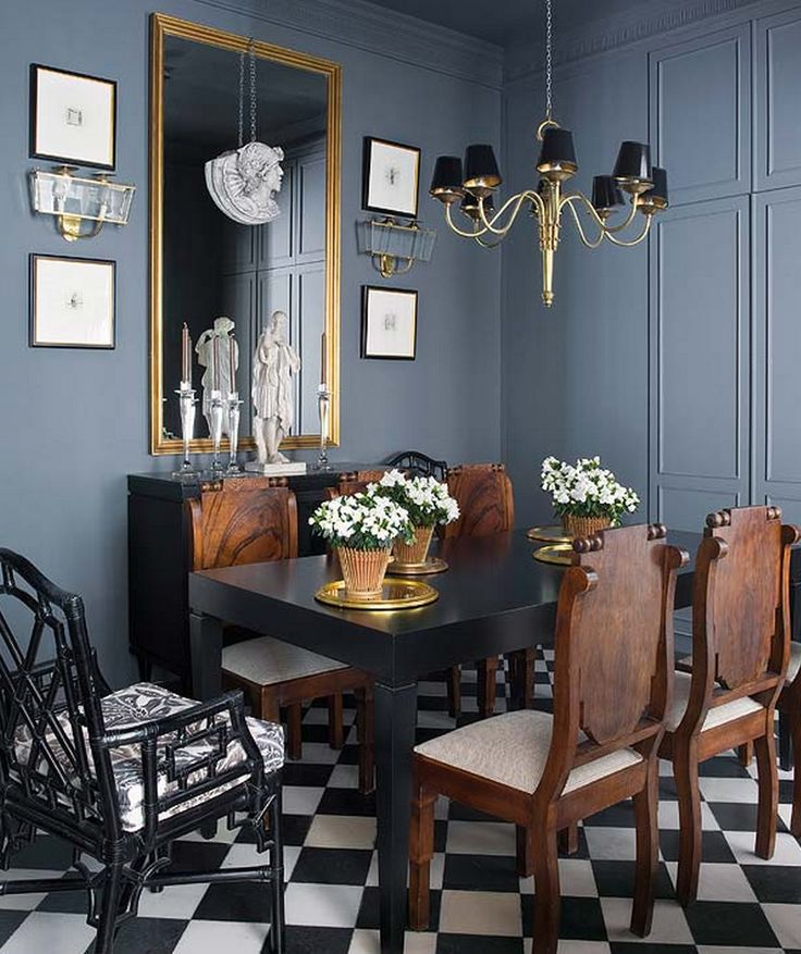 Inside an Apartment That's Black and White and Chic All Over// blue-grey paint