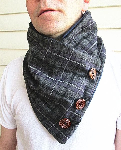Men's wool cowl collar scarf- plaid wool-Men's scarf-fleece lined. on Etsy, $32.98