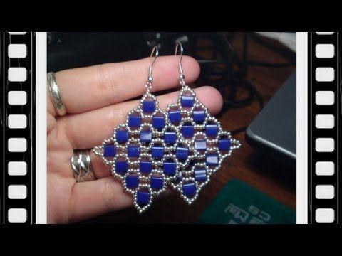 Square Tila Earrings Beading Tutorial by Honeybeads1 - YouTube