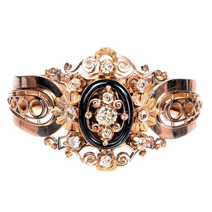 French Onyx Diamond Pink Gold Bangle Bracelet c1879 - petersuchyjewelers