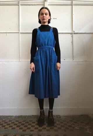 Vintage+90'+Oldschool+Cool+Cute+Midi+Blue+Dress