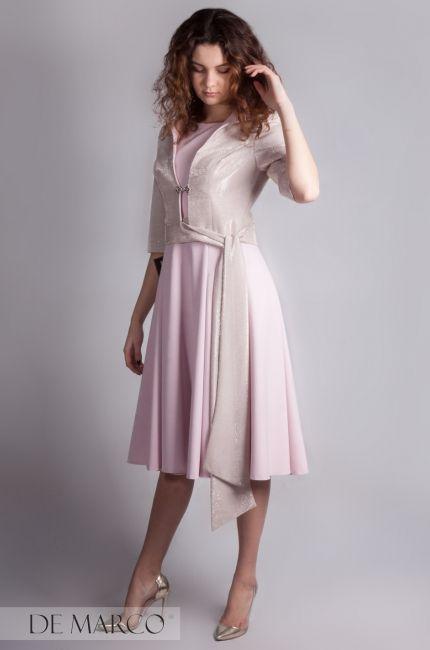 71c57d0723 Komplet sukienka z żakietem w kolorze różowym. Najmodniejszy zestaw dla mamy  wesela.