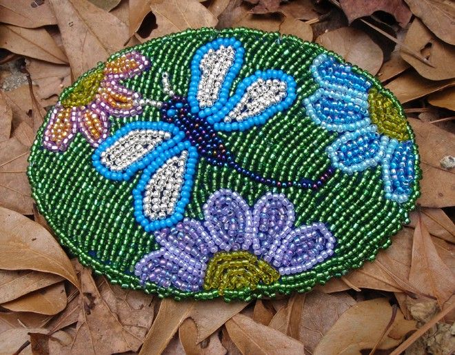 Free Native American Beadwork Patterns   Native American Seed Beaded Dragonfly Barrette