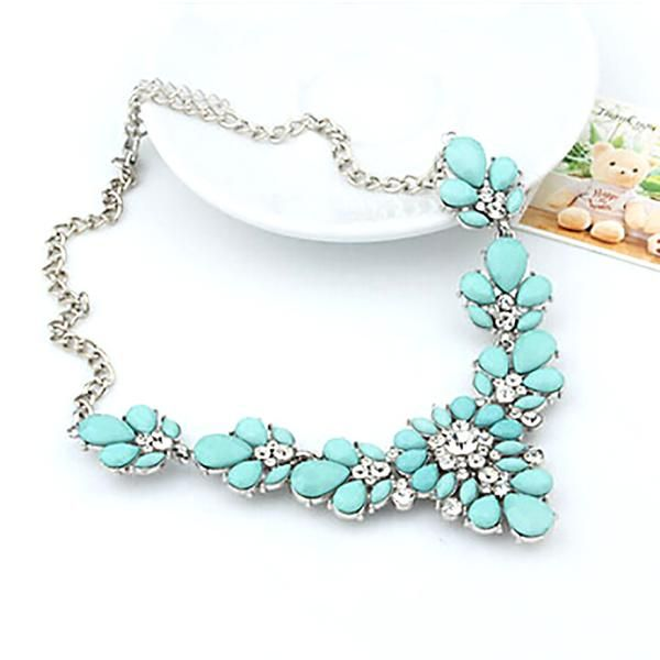 Multi Colors Crystal Necklace Choker Necklaces & Pendants For Woman Bib Choker Necklaces Women Jewelry