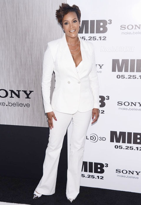 Vivica Fox All White Louis Vutton Pants Suit