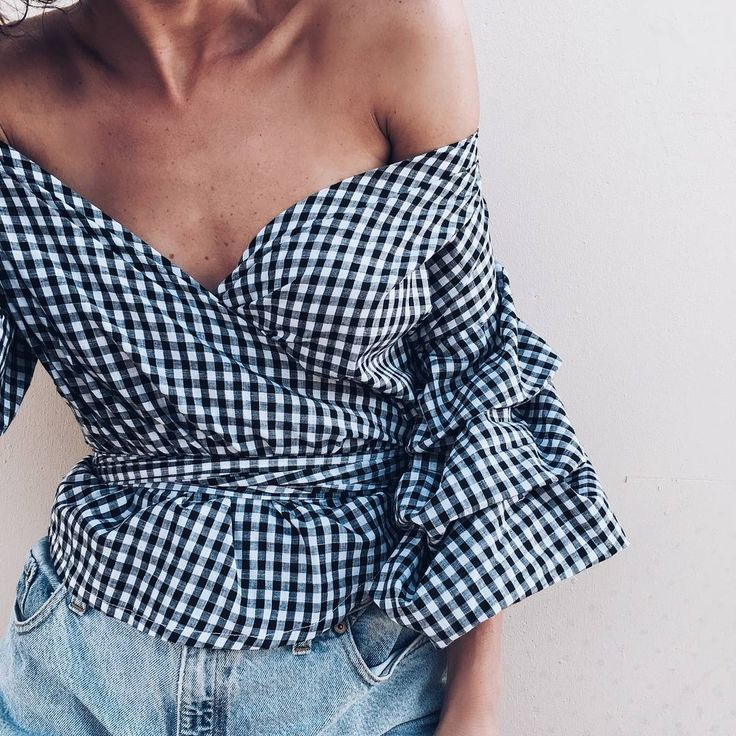 Fashion Outfit Street Style Look Clothes Inspiration off shoulder top gingham statement sleeves