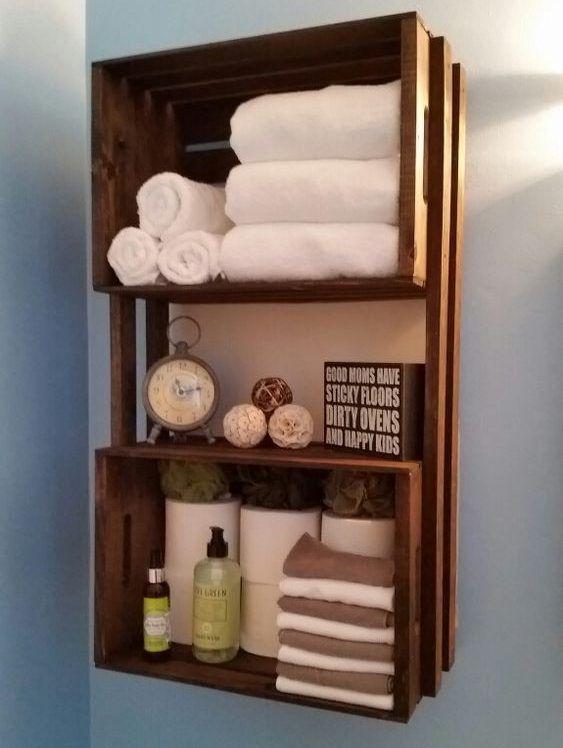 16 faszinierende DIY-Regale für eine bessere Organisation des Badezimmers #toilet #small #rust