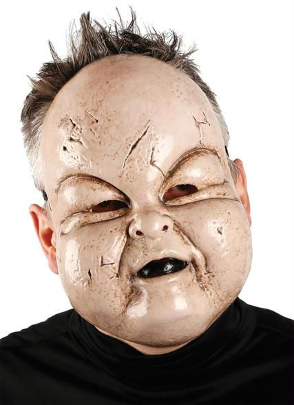 This funny Halloween mask will have everyone pinching your chubby cheeks! The vacuform mask features blemished skin, pudgy cheeks, button nose and gothic black lips.