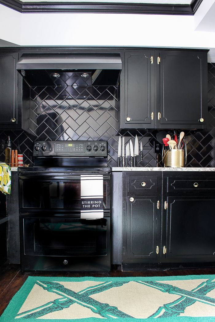 Black, White and Brass Kitchen Remodel Budget kitchen remodeling