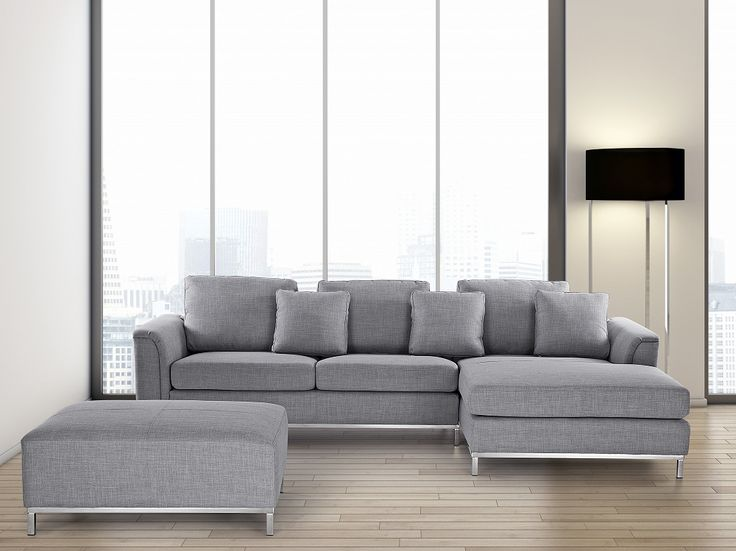 Modern Sectional Sofa in Fabric with Ottoman - OSLO Light Grey L