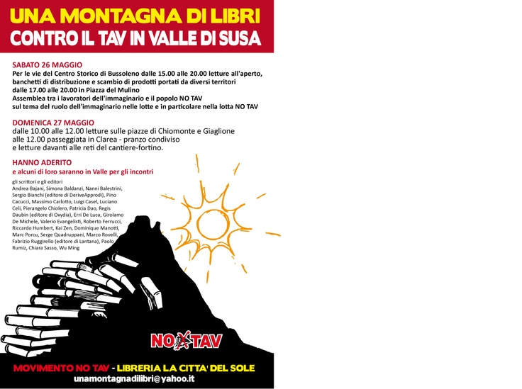 Sabato 26 maggio e domenica 27 maggio 2012, una montagna di libri in Val Susa