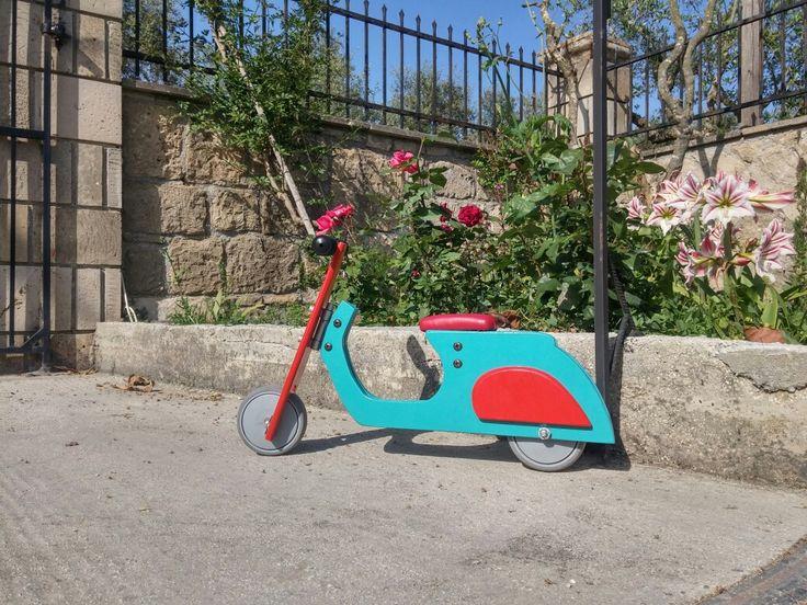 Wooden  balance bike Coloured vespa  by #chrisauto