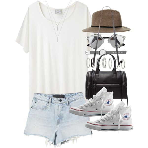Outfit for summer with converse by ferned on Polyvore featuring Base Range, Alexander Wang, Converse, Forever 21, Witchery, BCBGeneration and Topshop