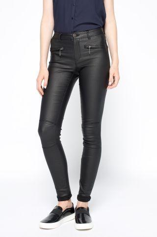 Pantaloni cu aspect de piele skinny negri