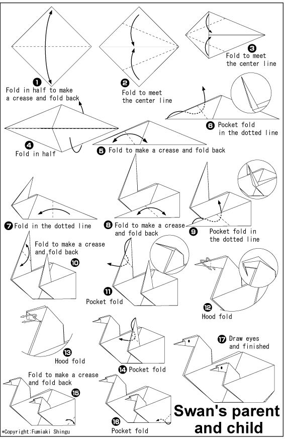 1000 ideas about origami swan on pinterest 3d origami for Origami swan folding instructions