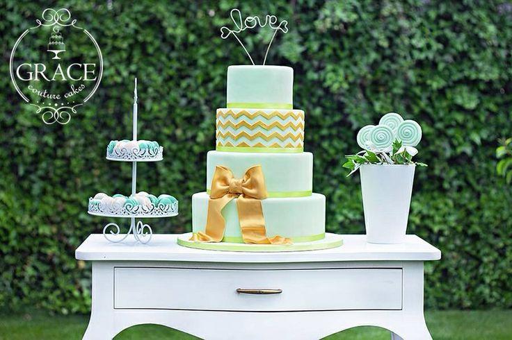 Wedding cake mint gold www.gracecc.ro