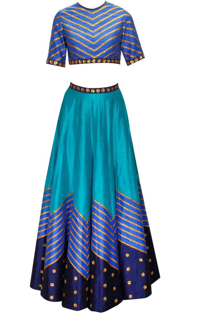Teal blue embroidered lehenga set available only at Pernia's Pop-Up Shop.