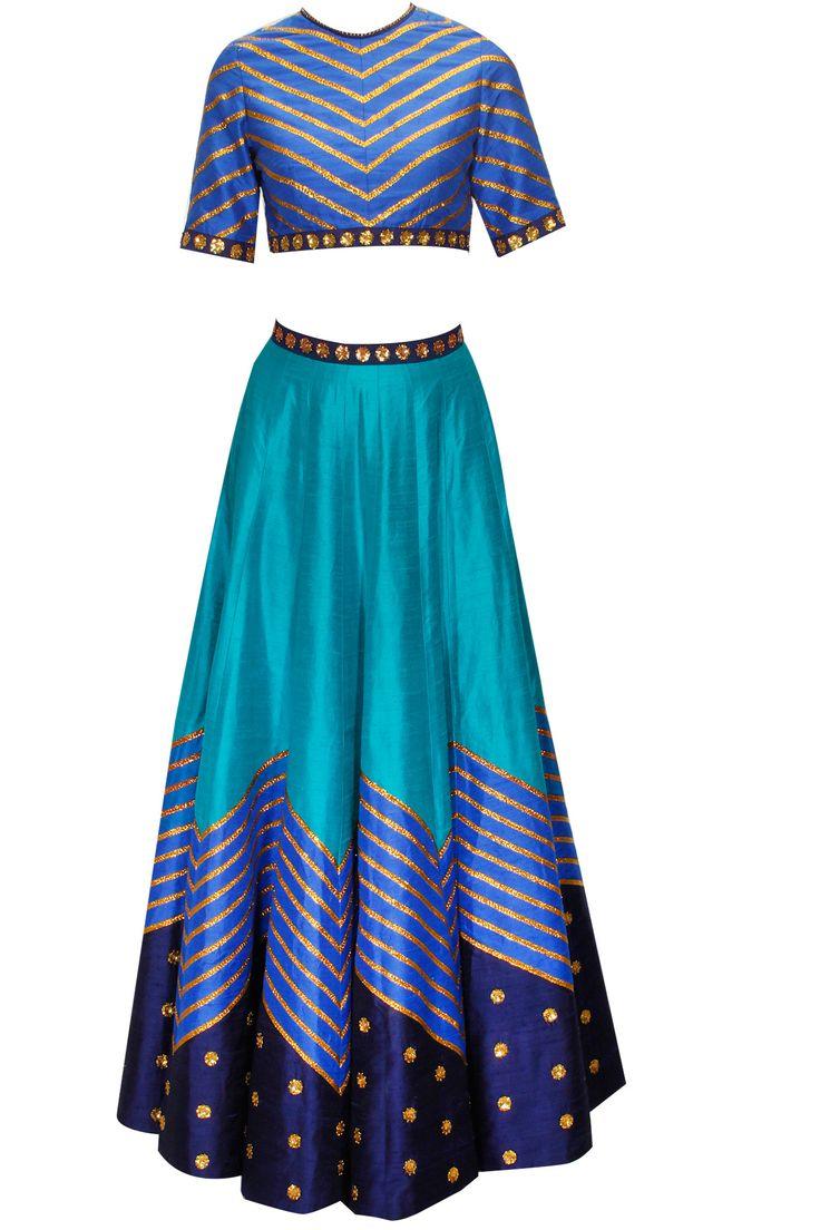 Teal blue embroidered lehenga set by Priyal Prakash. Shop now: www.perniaspopups.... #priyalprakash #lehenga #ethnic #pretty #perniaspopupshop #shopnow #happyshopping