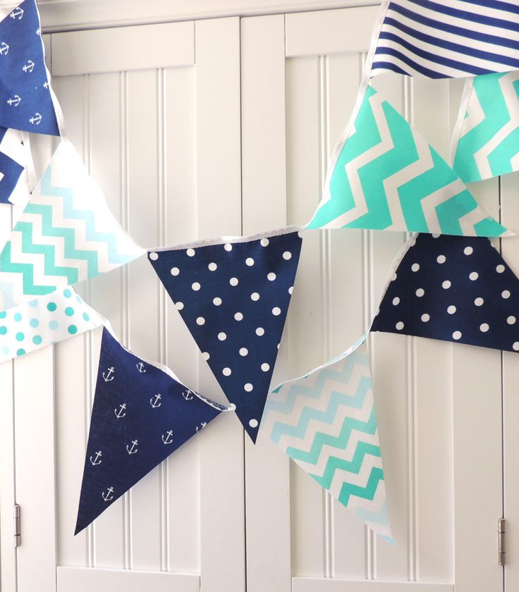 Nautical Bunting, Banner Fabric Pennant Flags, Anchor, Navy Blue, Mint, Teal, Turquoise, Chevron, Baby Nursery Decor, Birthday Garland Decor